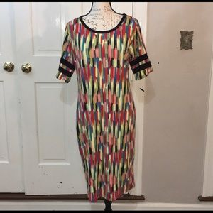 Lularoe Julia Dress w/ Baseball Sleeves XL